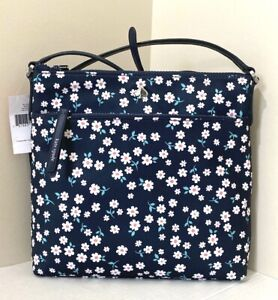 New Kate Spade New York Jae Fleurette Toss flat crossbody Nylon handbag Blue