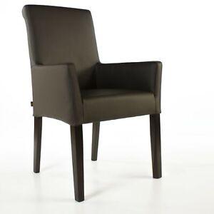 Armlehnstuhl Galdo Leder Dark Braun Beine Wenge | Ledersessel Lederstuhl Sessel