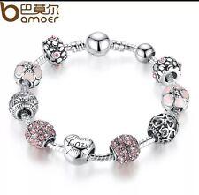 Designer Love Heart Charm Bracelet 925 Silver Romantic Gift For Quick Sale
