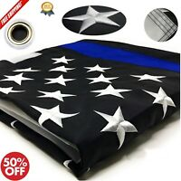 Thin Blue Line Flag 100% US Made 4x6 ft Embroidered Stars Sewn Stripes Police