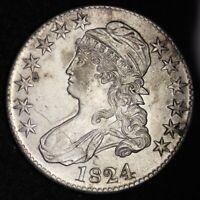 1824 Capped Bust Half Dollar CHOICE AU+ NICE FREE SHIPPING E310 WNMT
