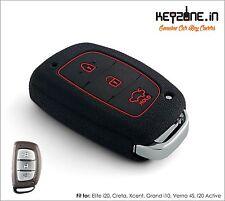 KeyZone Silicone Key Cover fit for Hyundai Creta Smart Key (Black)