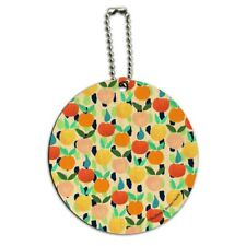 Colorful Citrus Tropical Fruits Pattern Round Wood Luggage Card Carry-On ID Tag