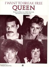 """QUEEN """"I WANT TO BREAK FREE"""" SHEET MUSIC-PIANO/VOCAL/CHORDS-1984-BRAND NEW-MINT!"""