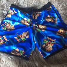 5bec6e8377 Men's BIOWORLD Cat Pineapple Print Boardshorts Swim Trunks Large Blue ...