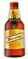 "Barcelona ""Beautiful Place"" Wooden Bottle Shaped Bottle Opener Wall Mount EUC"