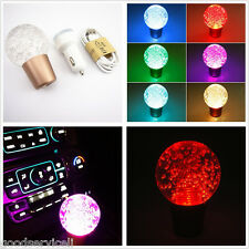 Crystal Bubbles Ball Multicolor LED Autos Gear Shift Knob & Dual USB Charger 12V