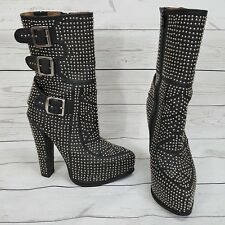 JEFFREY Campbell Sirius Studded Black Platform Boots Silver Studs Sz 5 Punk Rock