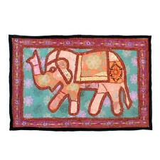 Indian Tapestry Antique Handmade Embroidered Elephant Vintage Wall Hanging