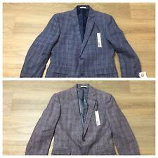 mens Bar III linen suit jacket coat blue red plaid slim fit