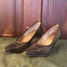 Vintage 50s Lizard Reptile Leather Heels Womens 8 Aaaa Brown Stiletto Pumps