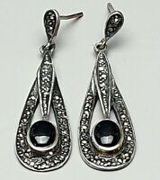 Jugendstil Silber Ohrhänger Onyx Markasit 925 & Hersteller Punze /A438