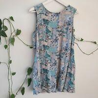 Ken Done x Something Else 90s Print Mini Dress 12 M Blue Abstract Rayon Aus Art