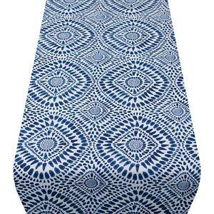 Indigo Blue Batik Table Runner, Indonesian Ink-Blot Design. Two sizes available.