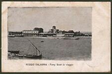 Calabria. REGGIO CALABRIA. Ferry Boat in viaggio. Cartolina viaggiata nel 1906.