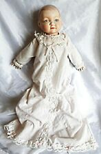 Antique BABY DOLL, Porcelain Head, Hands, Cloth Body, Feet, Christening Outfit