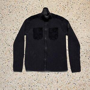 Calvin Klein Jeans Sweater Mens Medium Black Gray Full Zip Collared Cotton