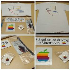 RARE COMBO - Apple Macintosh Picasso Pen Pin Stickers Luggage Tag - Vintage
