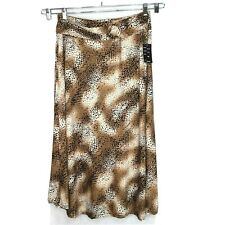 Robert Louis A-Line Maxi Skirt Women Size XL Brown Black Animal Print Pull-on