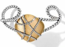 Brighton PIETRA Gold Rock with Silver Weave Bangle Bracelet NWT