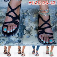 Women Sandals Flat Flops Sandals Summer Bandages Casual Beach Shoes Cozy Shoes
