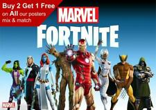 Fortnite Marvel Game Poster A5 A4 A3 A2 A1