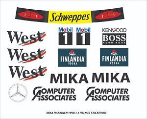 F1 Helmet Hakkinen McLaren Stickers Kit 98 1.1 Full Size helmet Motorsport