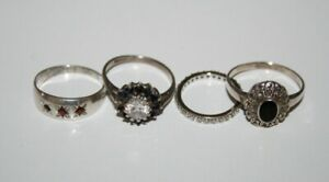 VINTAGE STERLING SILVER 925 - Lot of 4x Gemstone RINGS - Scrap/Repair