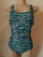Speedo Women's Athletic Modest Coverage One Piece Swimsuit Teal Size 8 New With