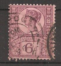 UK-GREAT BRITAIN-1887/1900-VICTORIA-6 PENCES-VIOLET & RED-Y&T nr.100-used stamp