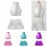 Girls Dance Outfits Kids Ballet Sequined Tops+Bottoms Jazz Gym Performance Sets