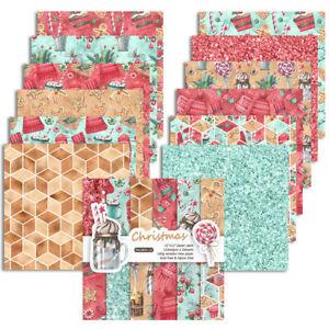 12PCS 12'' Xmas Paper Pad Christmas Floral Scrapbooking Album Card Journal Craft