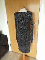 Ladies GHOST LONDON Dress Size 10 Black White Stretch Wiggle Pencil Party Smart