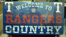 """TEXAS RANGERS WELCOME TO RANGERS COUNTRY WOOD SIGN 13""""X24'' BRAND NEW WINCRAFT"""