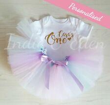 Cumpleaños Rosa Bebé Tutu Conjunto Chaleco de una plata Niñas Bebé Foto Prop Pastel Smash