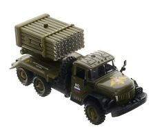 Russian army truck ZIL-131 with rocket launcher GRAD. Metal toy. 1/55 scale.
