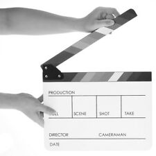 WHITE ACRYLIC CLAPPER BOARD CLAPPERBOARD FILM MOVIE ACTION SCENE SLATE 30X24CM