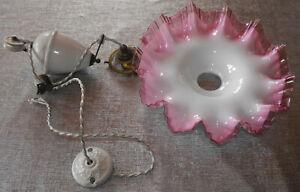 Ancien lustre suspension monte et baisse complet avec abat jour en opaline