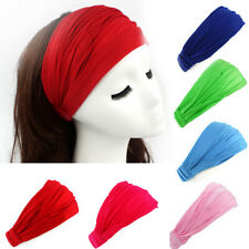 Women Wide Cotton Sports Yoga Headband Stretch Hairband Elastic Hair Band Turban