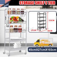 4/5Tier Kitchen Trolley 4 Rolling Cart Full-Metal bathroom Organizer Rack Basket