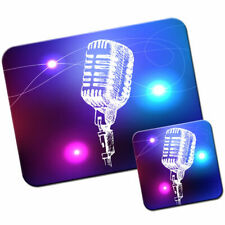 Line Art Stage Microphone Mouse Mat / Pad and Coaster Set