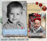10 Personalised Christmas Photo Greeting Cards Friends Family Baby Xmas Full