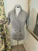 Jigsaw Size S 10 12 grey shirt sleeve knitted double breasted cardigan wool VGC