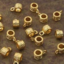 30pcs gold-tone round pattern bail charms beads h2000-G