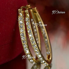 18K YELLOW GOLD GF MADE WITH SWAROVSKI CRYSTAL HOOP STUD EARRINGS OVAL HOOPS