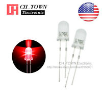 100pcs 5mm LED Diodes Water Clear Red Light Transparent Round Top USA