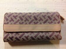 Talbots clutch wallet zippered zip around Brown & Tan w/ Leather accent