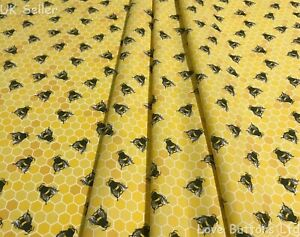 Rose & Hubble 100% cotton yellow beehive honeycomb bee fabric half/full mtr & FQ