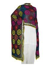 Vintage Ethnic Phulkari Dupatta Scarve ooak Embroidered Scarves Wrap Indian Veil