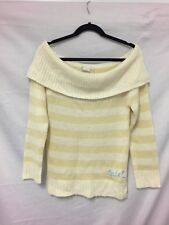 Rip curl cream and soft yellow striped jumper size 12 Womens